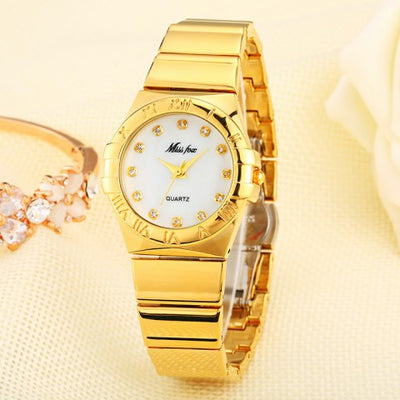 Roman Numerals Gold and silver women Watch Waterproof