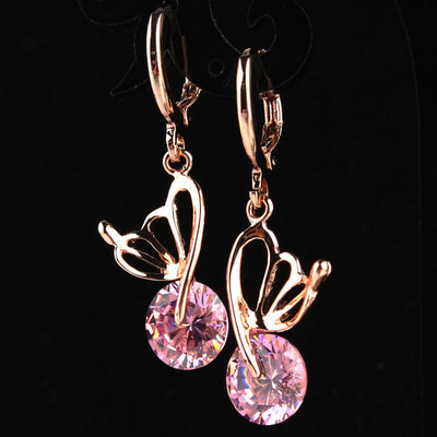 Trendy Pink CZ Crystal Drop Earrings Rose Gold Color Butterfly Earrings