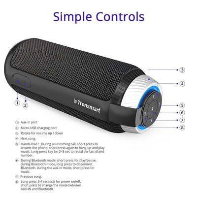 MP3 Player 25W Portable 360 Sterreo Sound Bluetooth Speaker