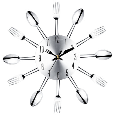 Modern Large Wall Clock Stainless Steel Wall Magic Spoon Fork Quartz Needle 3D