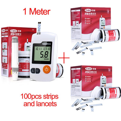 Blood Glucose Meter & Test Strips & Lancets Needle Diabetic Tester
