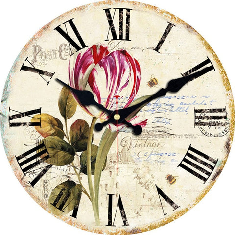 MEISTAR Vintage Round Flowers Design Clocks Classic Watches Home Decorations Large Wall Clock
