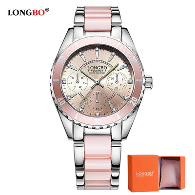 Women Luxury pink and white Ceramic And Alloy Bracelet Analog Wrist watch