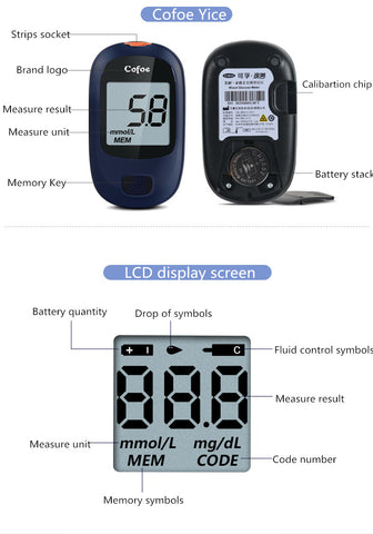 Glucose Meter with 50 pcs strips Blood Sugar Detection Device