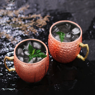 1-4pcs Moscow Mule Mug Stainless Steel Copper Plated Beer Whisky Cup