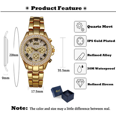 Luxury Women Watch  Relogio Feminino Chronograph Roman Gold Ladies Watches