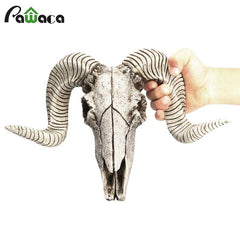 Creative Resin Sheep Head Skull 3D Animal Longhorn Sculpture Figurines Crafts Horns Home Decor