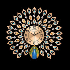 Large 3D Wall Clocks Luxury Peacock Diamond Crystal Quartz Wall Clocks