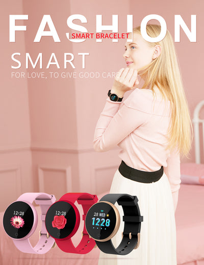 Smart pink Bluetooth Ladies Watches Smart Watch Women Calories Heart Rate Watch