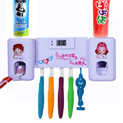 1PC 2 in 1 Automatic Toothpaste Dispenser with 5 Toothbrush Holder Set