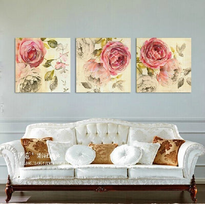 3 panels Canvas Pink Peony Painting Oil printed Peony flower painting wall pictures