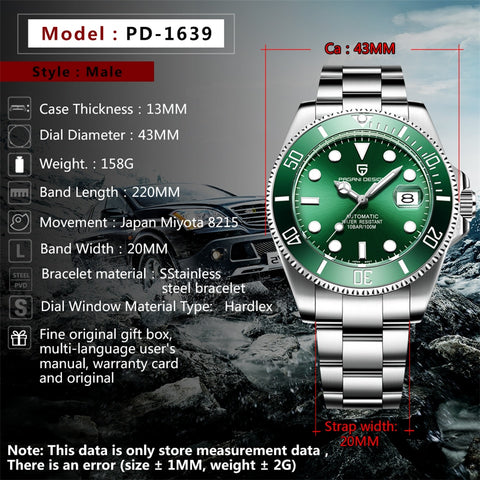 Reloj Hombre Pagani  Black, Green Circle Shaped Men Watch Luxury Waterproof