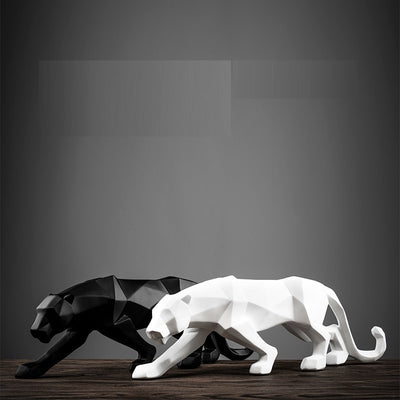 Modern Black Or White Panther Sculpture Geometric Resin