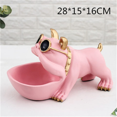 Bulldog Candy Dish Statue Lucky Dog Storage Box home Accessories