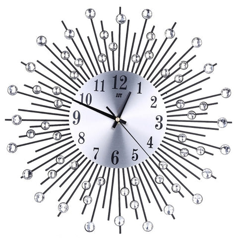Metal Plus Diamond Wall Clock Iron Art Inlaid Diamond Flower Wall Clock Home Decor