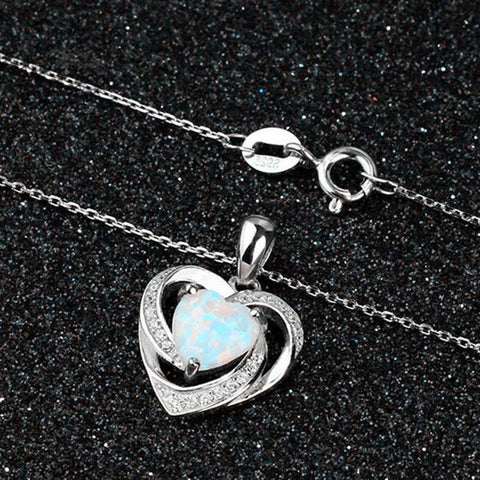 Love Heart Opal pendant  Necklaces For Women Mother'S/Valentine's Day Gift