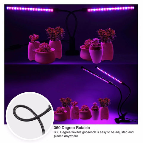 Dimmable 3 Timing Modes LED Grow Light Flexible Dual Head Full Spectrum