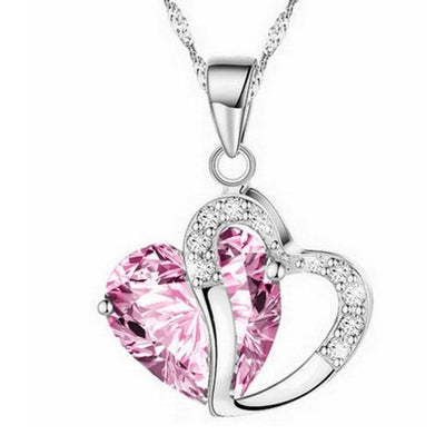Heart Crystal Pendant Necklaces Rhinestone Silver plated Chain Pendant Necklace