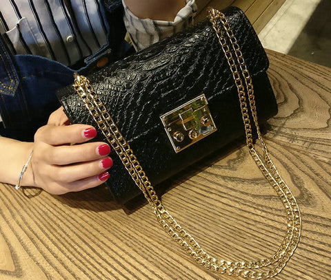 Crocodile Flap Bag Designer Women Handbags  Gold Chain Girls Cross body Bags
