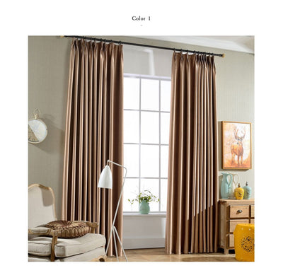 Solid color blackout curtains finished living room bedroom full curtain