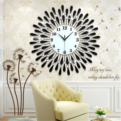 70CM Luxury Crystal Sunburst Quart Wall Clock