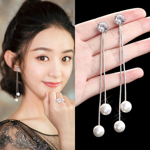 Trendy Elegant Big Simulated Pearl Tassel Dangle Earrings