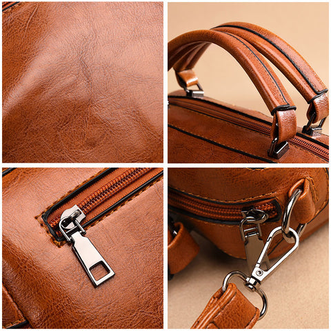 PU Leather Zipper Tote Bag Fashion Belts Bags Ladies