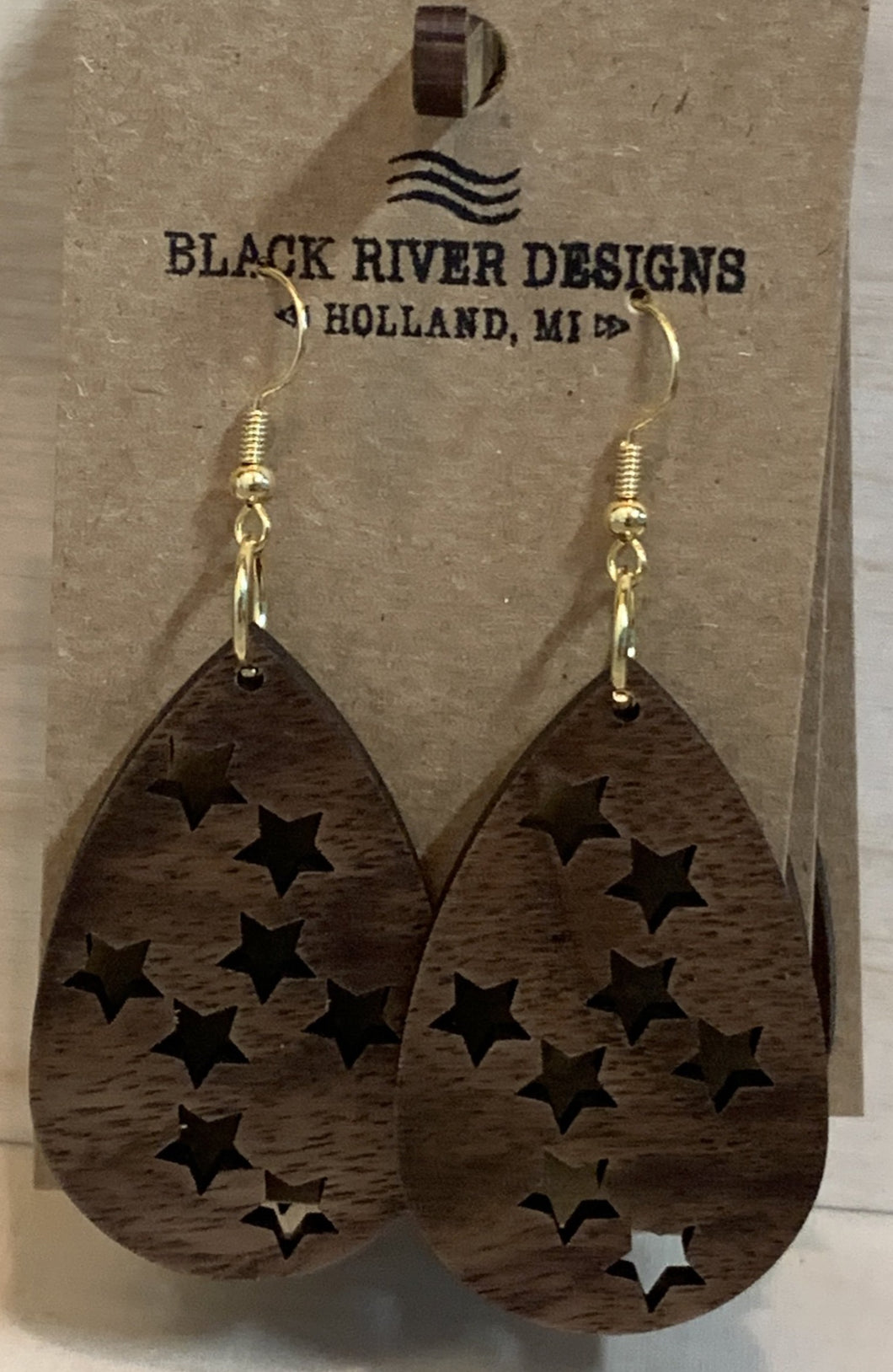Star Oval Wood Earring 1 7/8