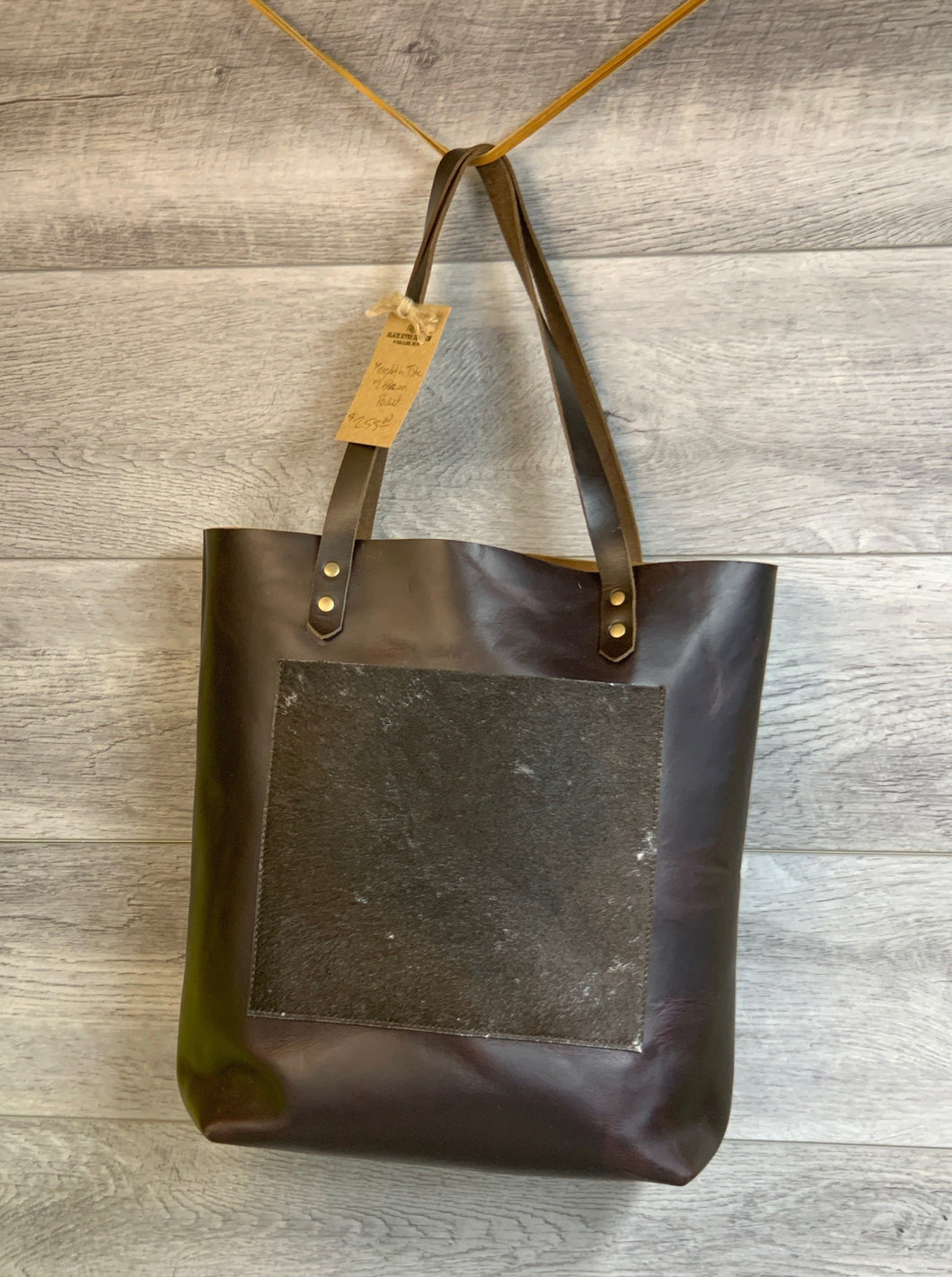 Meredith Jasper Chrome Leather Tote with Hair on Hide Pocket,
