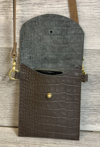 Crocodile Pattern Hip Purse with Removable Strap