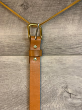 "Load image into Gallery viewer, 1"" Tan Leather Belt with Brass Hardware."
