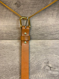 "1"" Tan Leather Belt with Brass Hardware."