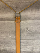 "Load image into Gallery viewer, 1 1/2"" Tan Leather Belt with Brass Hardware."