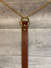 "Load image into Gallery viewer, 1 1/2"" Brown Leather Belt with Brass Hardware."