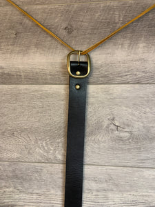 "1 1/2"" Black Leather Belt with Brass Hardware."