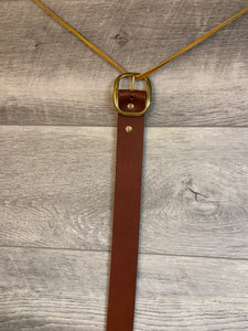 "1 1/2"" Brown Leather Belt with Brass Hardware."