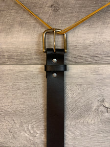 "1 1/2"" Black Leather Belt with Antique Brass Hardware."