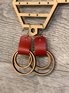 Wood and Leather Earring 1.25""