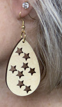 Load image into Gallery viewer, Star Oval Wood Earring 1 7/8""