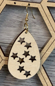 Star Oval Wood Earring 1 7/8""