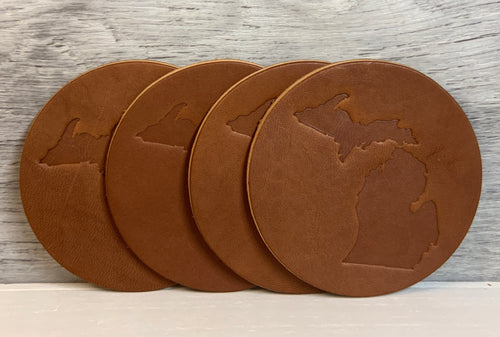 Round Michigan Coasters 3.5