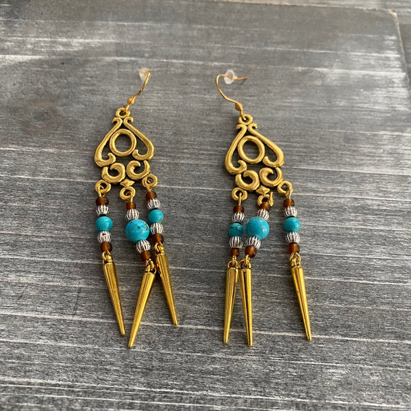 Antique Gold Turquoise Chandelier Earrings