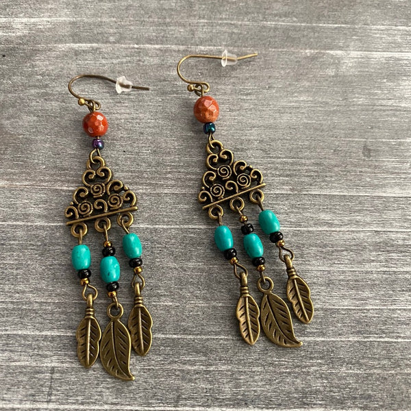 Antique Bronze Turquoise and Jasper Chandelier Earrings