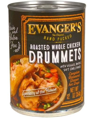 Evanger's Grain Free Hand-Packed Roasted Chicken Drummet Dinner - 12.5 oz.