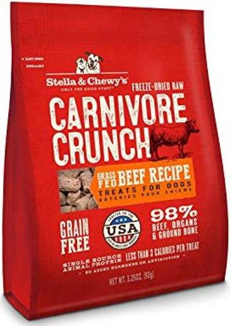 Stella & Chewy's Carnivore Crunch Grass-Fed Beef Recipe Dog Treats - 3.25 oz.