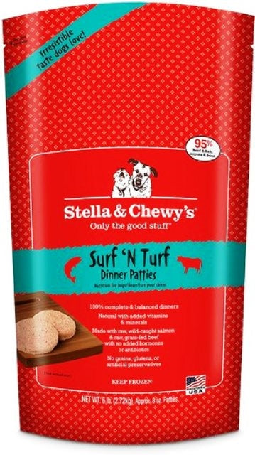 Stella & Chewy's Frozen Surf 'N Turf Dinner Patties for Dogs - 6 lbs