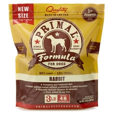 Primal Frozen Raw Canine Rabbit Formula Nuggets - 3 lbs