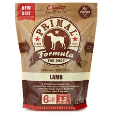 Primal Frozen Raw Canine Lamb Formula Patties - 6 lbs