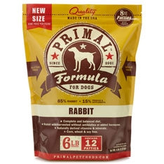 Primal Frozen Raw Canine Rabbit Formula Patties - 6 lbs
