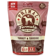 Primal Frozen Raw Canine Turkey & Sardine Formula Patties - 6 lbs